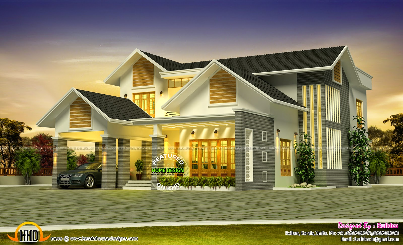 Grand house design kerala home design and floor plans for Designed home plans