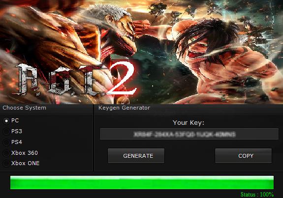ATTACK ON TITAN 2 KEY GENERATOR KEYGEN FOR FULL GAME + CRACK