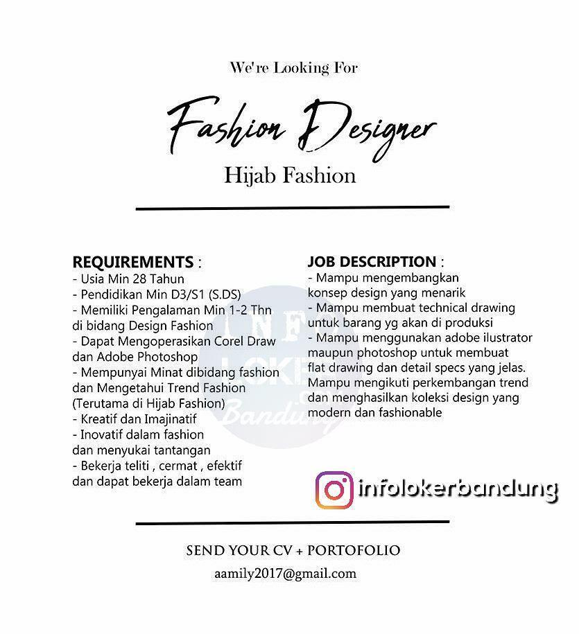 Lowongan Kerja Fashion Designer  Hijab Fashion Bandung Januari 2018