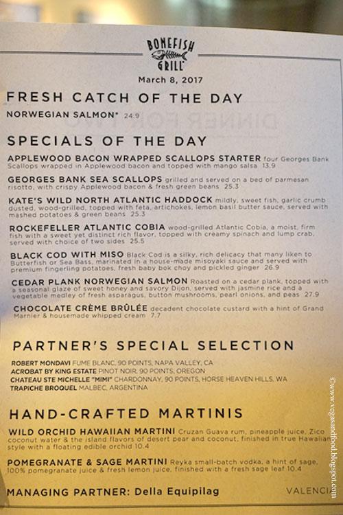 Bonefish grill seasonal menu vegas and food for Fish bone grill menu