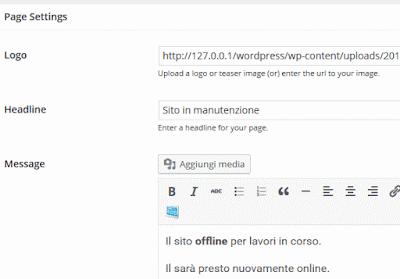 impostazioni sito wordpress offline
