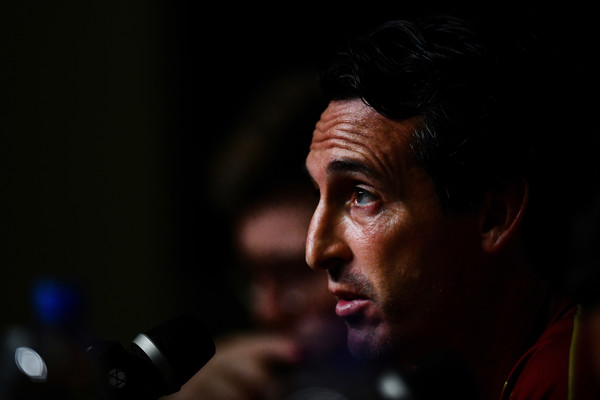 Unai Emery manager of Arsenal speaks on pre match press conference ahead of the International Champions Cup 2018 match between Arsenal v Paris Saint Germain on July 27, 2018 in Singapore.