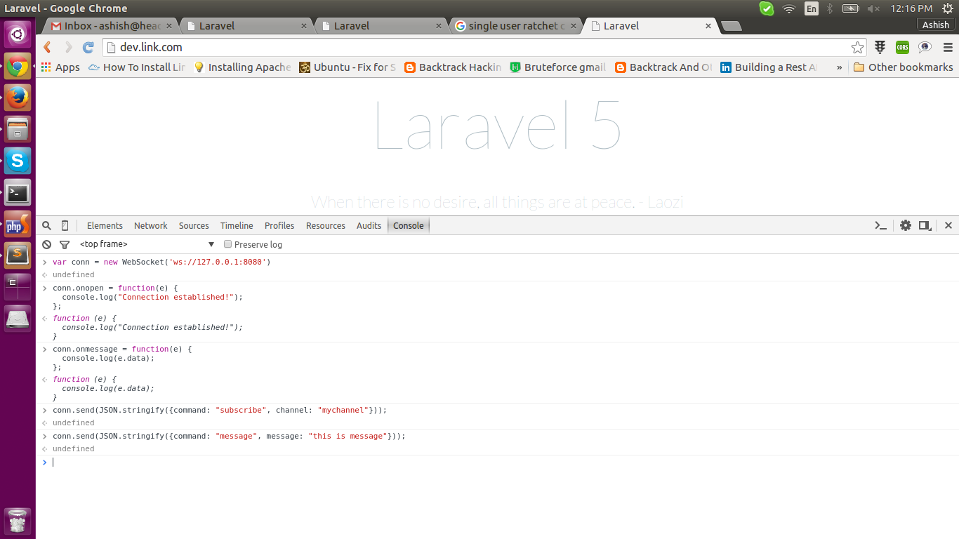 Use Web Socket for Chat in Laravel 5 (Using Ratchet for particular