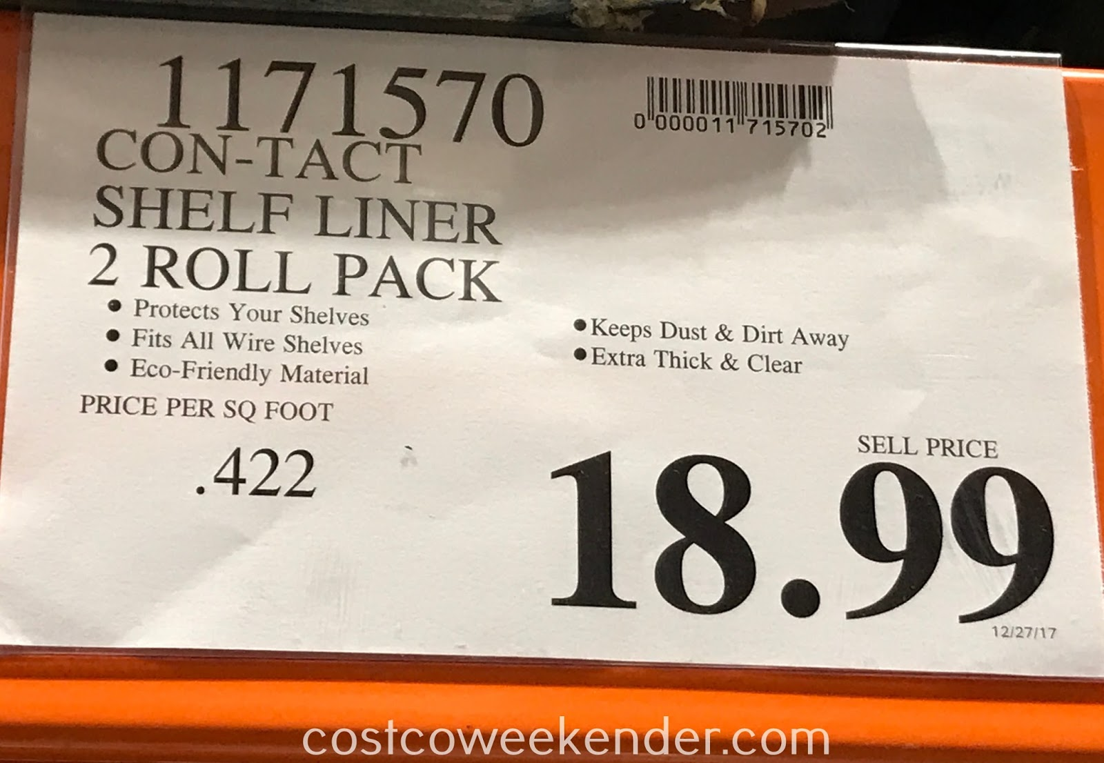 Deal for 2 rolls of Con-Tact Premium Shelf Liner at Costco