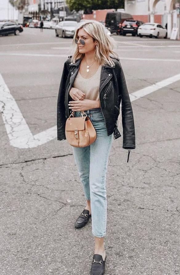 how to wear a biker jacket : boyfriend jeans + loafers + bag + nude top