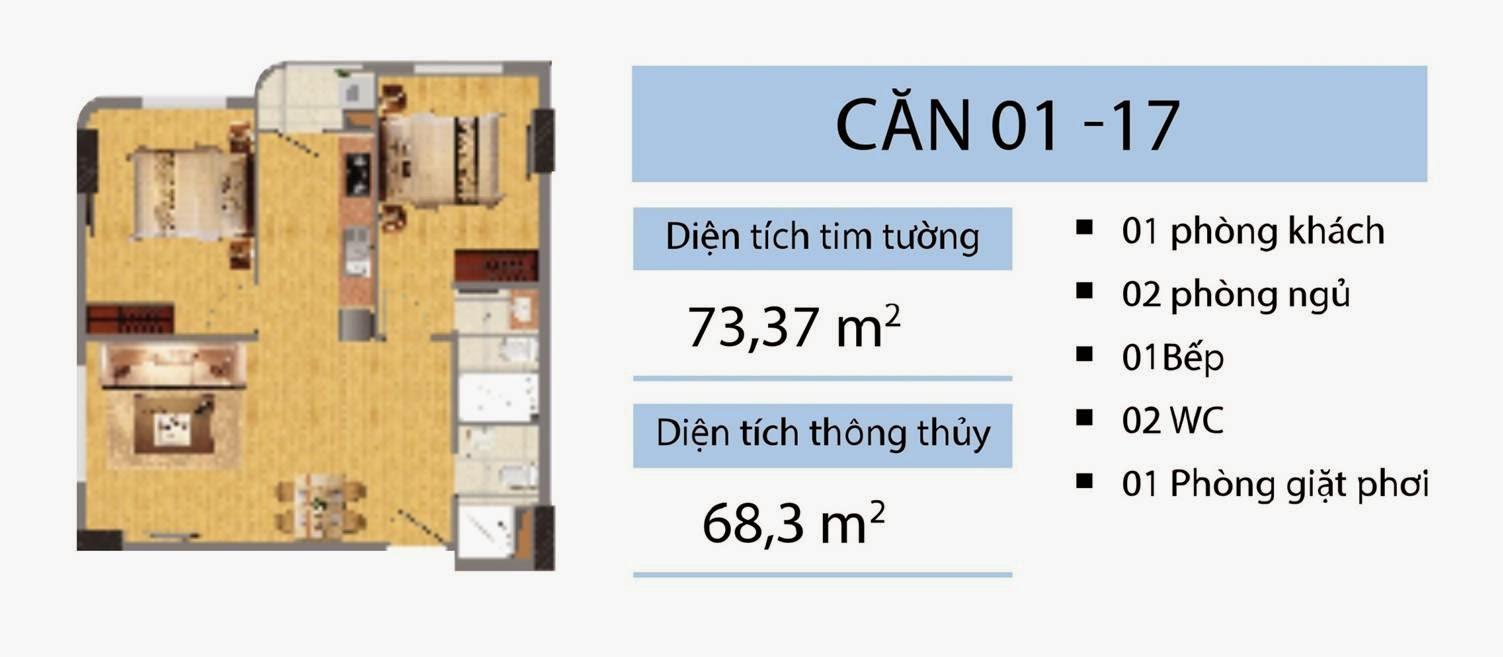 Căn 73,37 m2 CT2B Nghĩa Đô