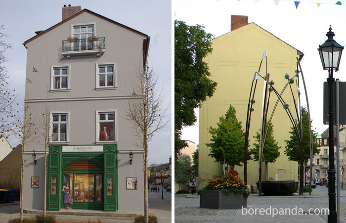 10+ Incredible Before & After Street Art Transformations That'll Make You Say Wow - Facade In Bad Freienwalde, Germany