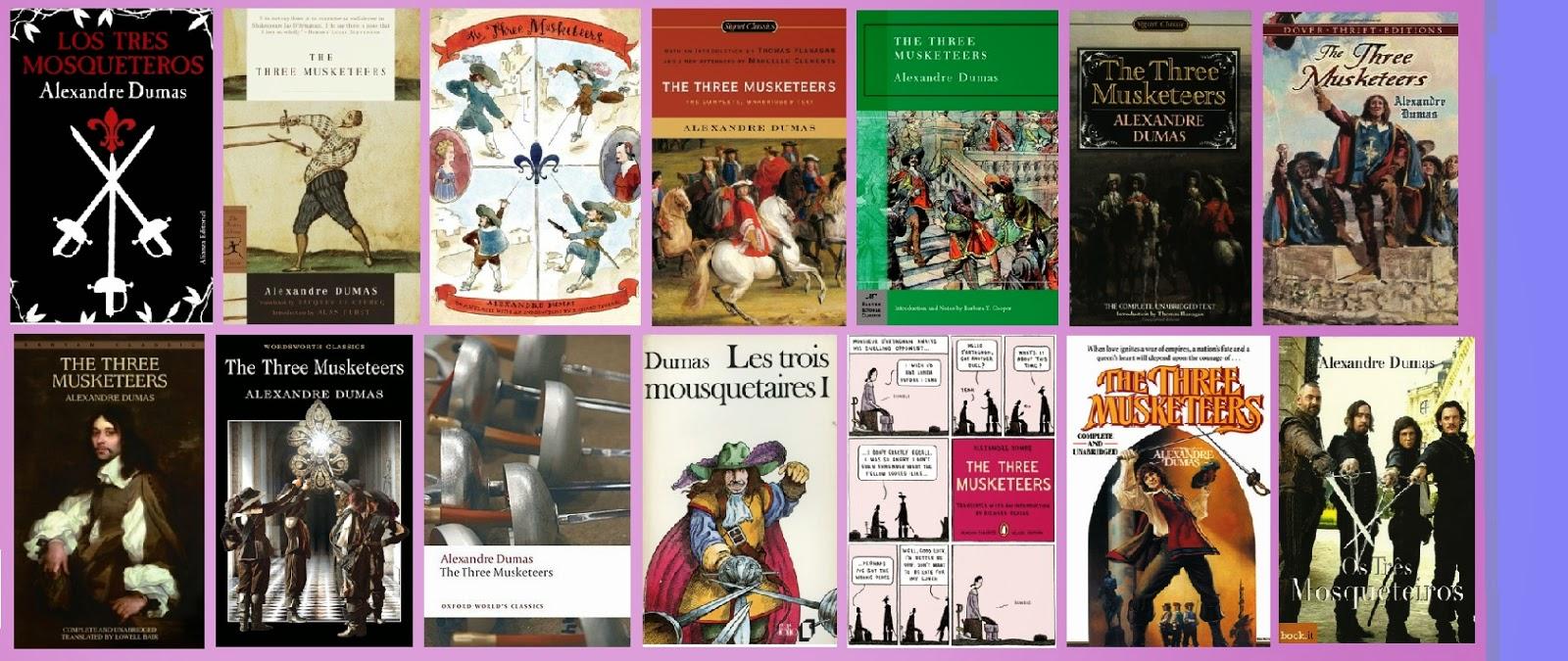 Portadas de la novela clásica de aventuras histórica Los tres mosqueteros, de Alejandro Dumas