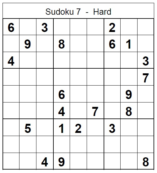 picture regarding Sudoku Printable Hard named Printable Sudoku Complicated Puzzle no 7 - Sudoku Difficult Puzzles
