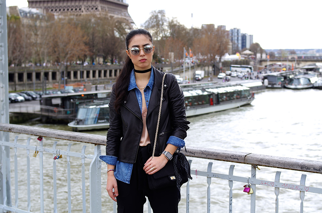 Elizabeth l  chic cargo pants outfit l American Retro leather jacket The Kooples lace cami denim shirt Mango cargo pants Zara heels Chanel Quay Australia Apple watch l THEDEETSONE l http://thedeetsone.blogspot.fr