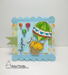 Bon Jour a card by Diane morales| Newton dreams of Paris Stamp Set by Newton Nook Designs