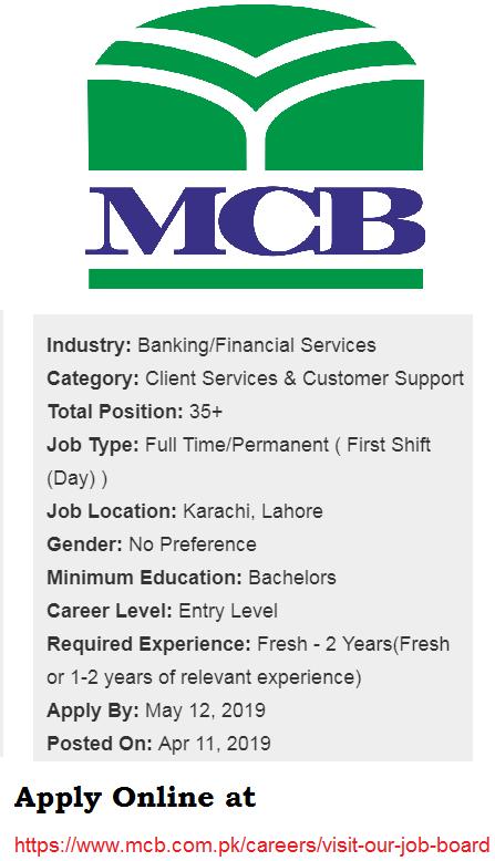MCB Careers 2019 April, MCB Jobs ,MCB Careers 2019 April for Contact Center Executive