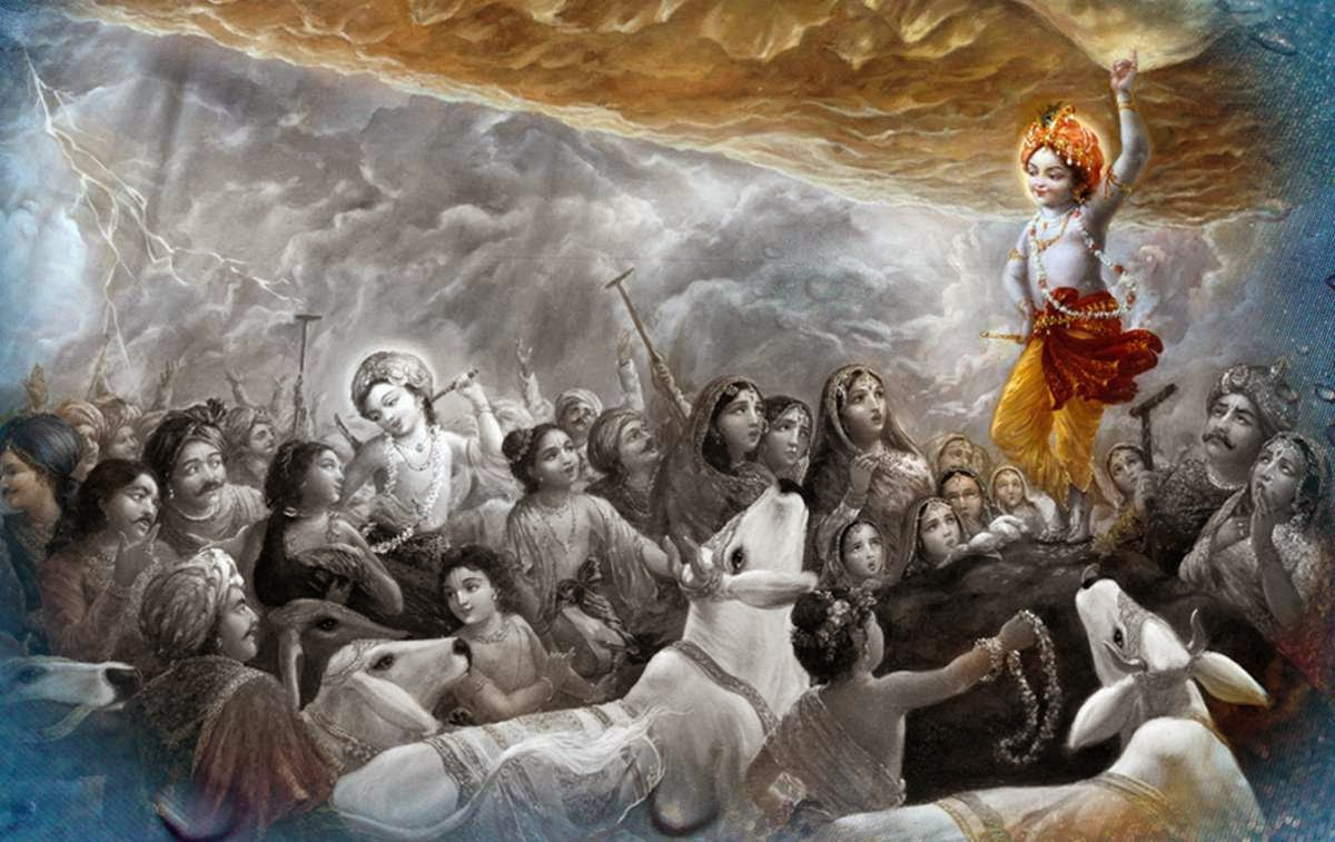 Krishna lifting Govardhan Hill and giving shelter to Vrajwasi