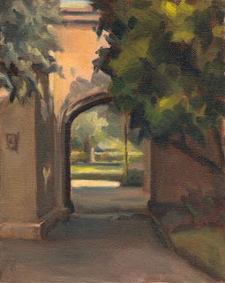 Landscape oil painting of an archway bordered by trees with distant sunlit vegetation.