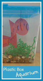 How to make a plastic box aquarium craft with children