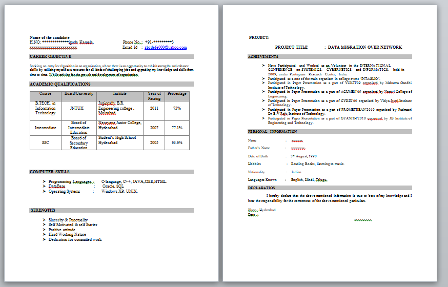 online resume builder for freshers engineers