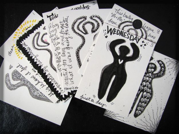 atc journaling cards with rubber stamp by tamdoll