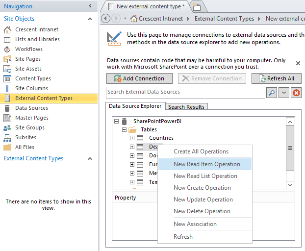 sharepoint 2013 using bcs with sql server database
