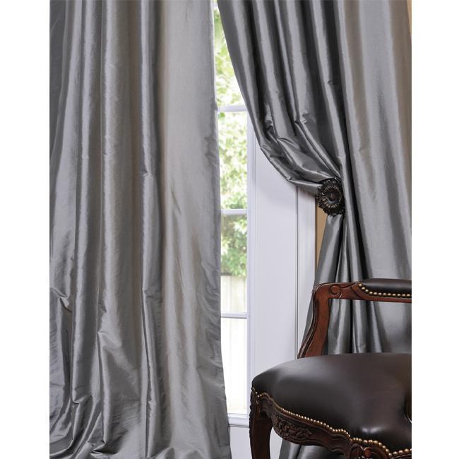 Solid Faux Silk Taffeta Platinum Curtain Panel