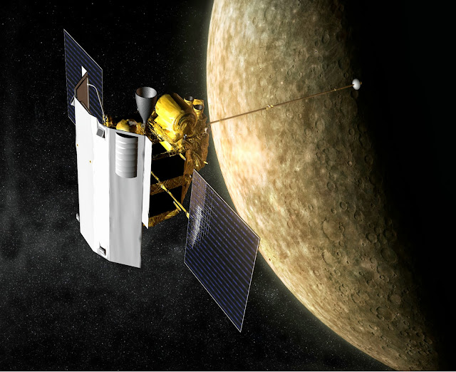 Artist's impression of the MESSENGER spacecraft in orbit around Mercury