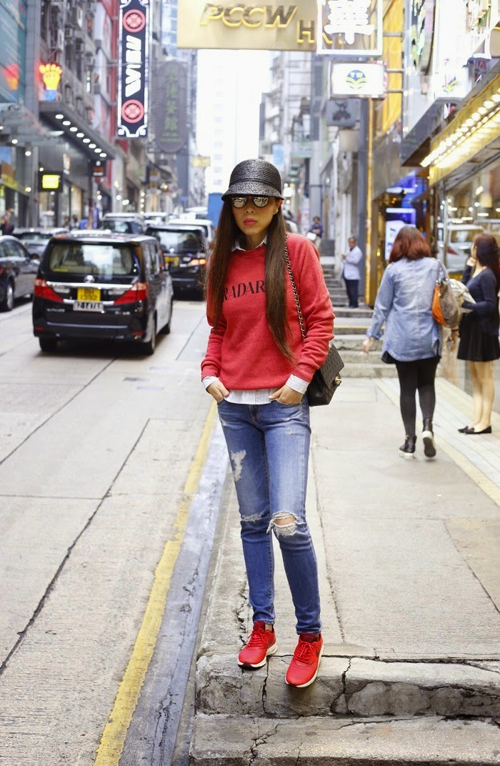 Rodarte Radarte poly blend sweatshirt in red, travel outfit, AG 17 year riot jeans, nike airmax sneaker, chanel bag, le specs sunglasses, Rachel Zoe hat, Baublebar sunglasses, fashion blog, hongkong, sasa, jetset, street style