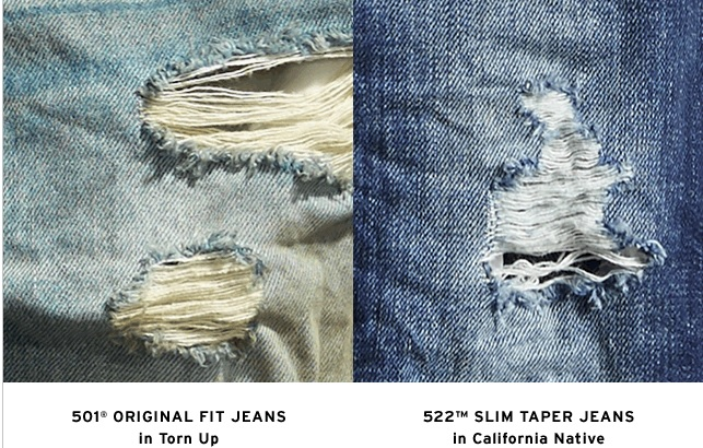 Men's Ripped Levi Jeans