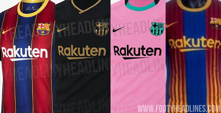 fc barcelona 20 21 home away third fourth kits leaked footy headlines fc barcelona 20 21 home away third