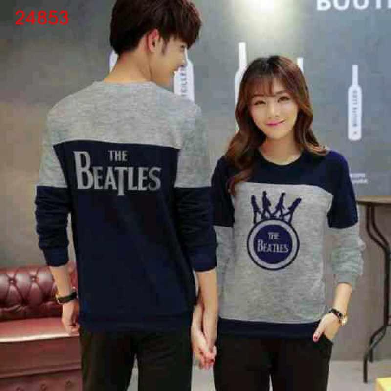 Jual Sweater Couple Sweater Beatles Cross Navy Misty - 24853