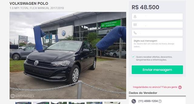 Novo Polo 1.0 MPI 2018 aspirado por R$ 48.500 reais