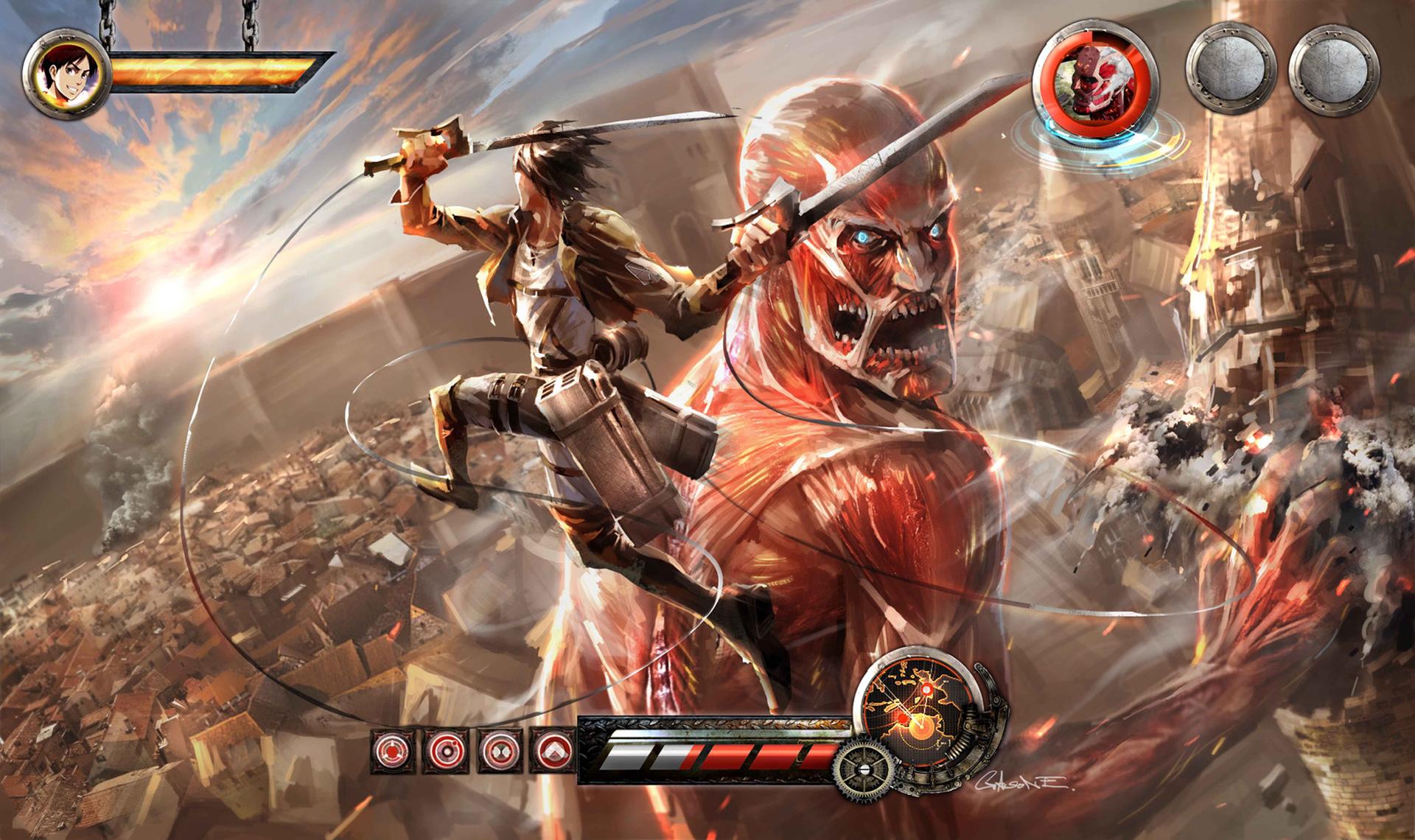 Eren Jaeger Vs Colossal Titan Epic Fight A44 Hd Wallpaper