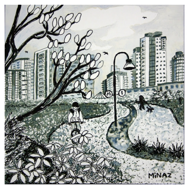 Vancouver Bike Ride: David Lam Park Ink on Bristol Paper by Minaz Jantz