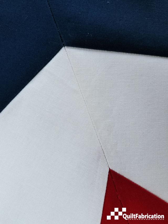 closeup of seam matches for quilt block