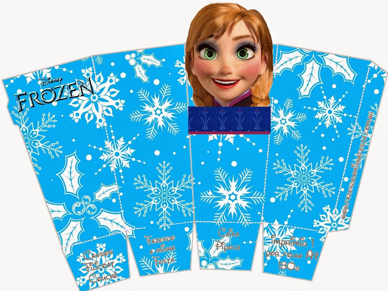 Frozen: Caja de Ana para Popcorn, para Imprimir Gratis.