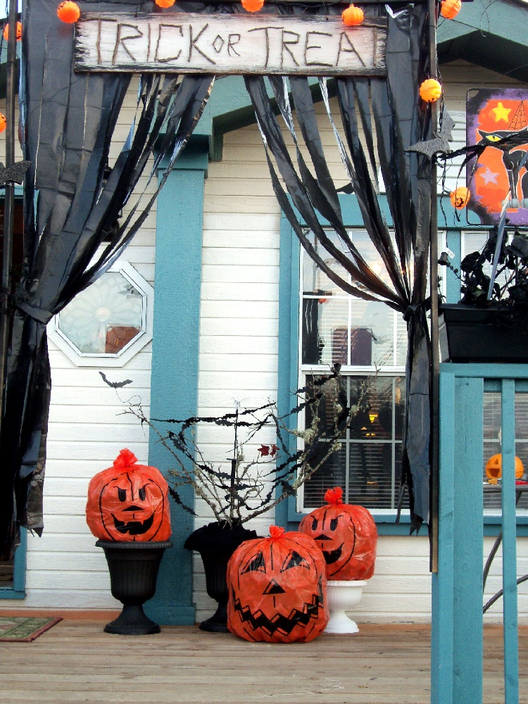 halloween decor from video tape and trash bags