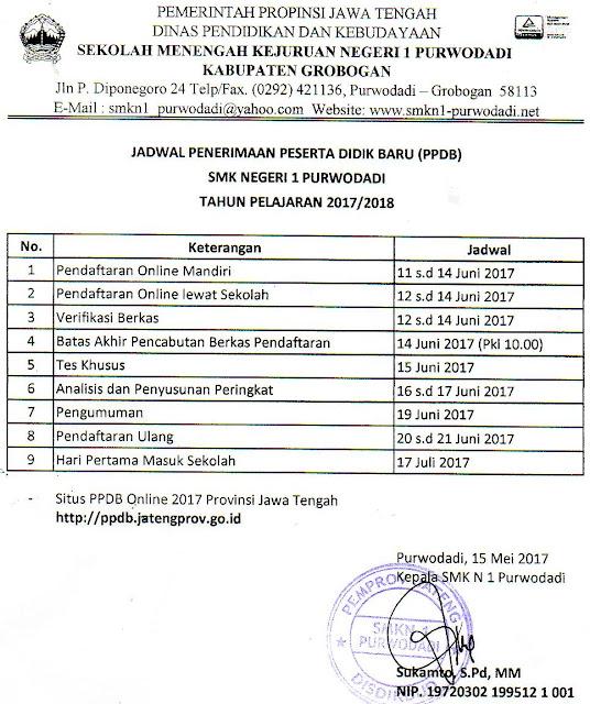 Jadwal PPDB Online SMK Negeri 1 Purwodadi