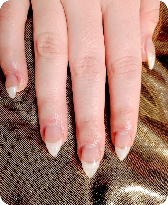 We Applied Some Tiny Little Almond Tips Using Gels To Extend Her Natural Nails