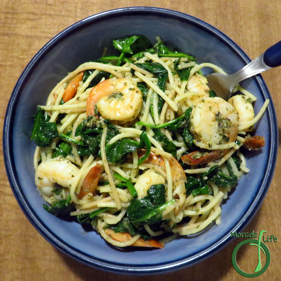 Morsels of Life - Shrimp Scampi - Shrimp, cooked with garlicky butter and herbs in a white wine sauce for a quick and easy (yet impressive) shrimp scampi. (Thrown in some spinach too, if you'd like!)