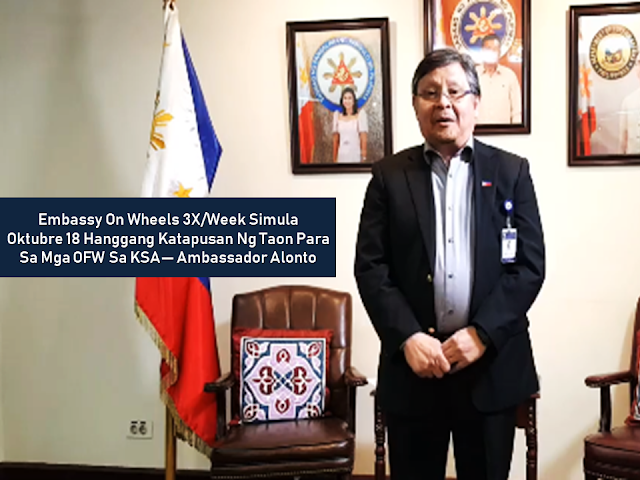 "Good news to overseas Filipino workers (OFWs) in  Saudi Arabia who had been waiting for too long to renew their passports. The Philippine Embassy in Saudi Arabia through   Ambassador to Saudi Arabia Adnan Alonto made an announcement yesterday about the coming Embassy on Wheels (EOW) which is anticipated to serve OFWs in the eastern region and other nearby places.       Ads    Sponsored Links  In  a video posted by iRadio Flash Report in social media, Ambassador Alonto said that the government attempted to open a consulate in the Eastern region which includes Al Khobar, Dammam, Dhahran, Al Ahsa, Jubail, and other nearby cities but unfortunately it did not materialize because the government of the host country did not allow such.  However, Alonto brought a good news to the OFWs who are located in the said region. Through the efforts of the Philippine embassy with the help of the Department of Foreign Affairs Headed By Sec. Alan Peter Cayetano, they provided a solution to the growing backlogs on passport applications. starting October 18 and every Thursday Friday and Saturday of every week thereafter until the end of the year, there will be an Embassy On Wheels to be held at Dahran.   Alonto ensured that the Philippine Embassy personnel will be assisting every concerned OFWs three days of every week until the year ends. A huge number of passport applications is anticipated to be processed during this period.  Aside from passport services, follow-up of cases handled by the assistance to nationals (ATN) will also be attended.    Alonto also said that this event will not be possible without the approval of  OUMWA undersecretary Sarah Lou Y. Arriola and the support coming from DFA Secretary Alan Peter Cayetano.  There is also a possibility that this program will be extended on the following year according to the Ambassador.  Filed under the category of Good news, overseas Filipino workers,  OFW, Saudi Arabia, passport, Philippine Embassy,  Embassy on Wheels (EOW)   Ads  Read More:  As overseas Filipino workers (OFW) working in an unfamiliar territory, we feel comfortable whenever we see a compatriot or a fellow Filipino abroad. In some instances, very unfortunate things happen like getting into a trouble because of a fellow Filipino. The Department of Foreign Affairs (DFA) and the Consulate General in Saudi Arabia confirmed that an OFW was stabbed and killed by a fellow OFW in Jeddah, KSA.      Ads     Sponsored Links    A Filipino was stabbed and killed by a fellow Filipino in Jeddah, Saudi Arabia, according to the confirmation of the Department of Foreign Affairs (DFA).  The victim (name withheld) was a 29-year-old from Datu Odin Sinsuat, Maguindanao, who worked as a family driver in Jeddah.   The suspect (name withheld), a 34-year-old from Capiz, also a driver for the same family  The suspect remains under police custody after he was arrested immediately after the incident. The two ""allegedly engaged in a fistfight in front of the house of their employer that ended in the victim getting fatally stabbed by his fellow driver."" The motive of the stabbing is still unknown.  The Consulate General and the Philippine Overseas Labor Office in Jeddah will extend full assistance to both Filipinos as well as their families.    The victim is set for a vacation to the Philippines soon but the incident turned out to be unfortunate that he will come home inside a box.  Consul General Edgar Badajos said that the suspect is facing a death sentence as per Saudi Sharia law. However, since they are both Filipinos, it is possible that the victim's family could instead  He assured that they will render assistance to help both OFWs.    Filed under the category of overseas Filipino workers, Filipino abroad, Department of Foreign Affairs (DFA), Saudi Arabia,   stabbed, Jeddah, KSA    More often, families with overseas Filipino workers (OFW) rely on their OFW breadwinner in providing their needs and without doing any efforts to have extra income. They use the money they receive to pay their bills, rents, mortgages, etc. They tend to spend the remittances they receive and wait for the next remittance when the money is over without any savings. This is the reason why no matter how long the OFWs exhaust themselves working overseas, they are still coming home broke and without any savings.  Encouraging our spouse or anyone who is responsible for the remittances you send to save could be a great help and could guarantee a hassle-free retirement, much more if they placed this savings to a profitable investment.      Ads     Sponsored Links    Stick to a budget schedule  Convince your spouse to make a monthly budget and commit to saving a portion of the monthly remittance. They could also spend the remaining part of the budget after setting aside the savings.  No matter how small the savings, it could mean a lot after a period of time you regularly do it.    Use the credit card wisely or do not use it at all  Credit cards could be an advantage when purchasing but it can also lure the holder to spend more. Whenever possible, avoid using credit cards and use cash instead. It would save you from paying extra charges and interests which can really raise your spending.    The best rule should be, do not spend the money you do not have.     Always make a list of important things to buy  Many OFW spouses tend to go on a shopping spree just after receiving the remittance and let their impulses lead in which items they like to buy at the very moment without putting their priorities on the things they really needed.  Encourage them to develop a habit and discipline of making a list of the things they need to prioritize during shopping and strictly follow what is on the list to avoid spending too much on the things that are not really important.    Live a lifestyle that suits your income  Many OFW spouses live like one day millionaire. after claiming the remittances you sent, they will go straight to the mall, eat at the fast-food chain of their choice, go on a shopping spree buying what they want without even thinking if they still have the money to go through the month until the next remittance. If their budget got short, they would borrow money from someone which would cause the next budget to bear the shortage and the cycle goes on.    There's nothing wrong with being generous but not too much  Advise your spouse to exercise caution when giving help to extended families, relatives or friends. There is nothing wrong with extending help but there has to be a limitation. This would avoid them to become dependent on your assistance that they would knock your everytime they need financial help.    Working overseas is not forever and you will eventually come home for good. It is you and your spouse who need to work hand-in-hand to succeed. Together you must find ways to take care of your finances and save for the future of your family.  Filed under the category of overseas Filipino workers, extra income,  bills, rents, mortgages, remittances, working overseas, retirement, investment, savings  More often, families with overseas Filipino workers (OFW) rely on their OFW breadwinner in providing their needs and without doing any efforts to have extra income. They use the money they receive to pay their bills, rents, mortgages, etc. They tend to spend the remittances they receive and wait for the next remittance when the money is over without any savings. This is the reason why no matter how long the OFWs exhaust themselves working overseas, they are still coming home broke and without any savings.  Encouraging our spouse or anyone who is responsible for the remittances you send to save could be a great help and could guarantee a hassle-free retirement, much more if they placed this savings to a profitable investment.      Ads     Sponsored Links    Stick to a budget schedule  Convince your spouse to make a monthly budget and commit to saving a portion of the monthly remittance. They could also spend the remaining part of the budget after setting aside the savings.  No matter how small the savings, it could mean a lot after a period of time you regularly do it.    Use the credit card wisely or do not use it at all  Credit cards could be an advantage when purchasing but it can also lure the holder to spend more. Whenever possible, avoid using credit cards and use cash instead. It would save you from paying extra charges and interests which can really raise your spending.    The best rule should be, do not spend the money you do not have.     Always make a list of important things to buy  Many OFW spouses tend to go on a shopping spree just after receiving the remittance and let their impulses lead in which items they like to buy at the very moment without putting their priorities on the things they really needed.  Encourage them to develop a habit and discipline of making a list of the things they need to prioritize during shopping and strictly follow what is on the list to avoid spending too much on the things that are not really important.    Live a lifestyle that suits your income  Many OFW spouses live like one day millionaire. after claiming the remittances you sent, they will go straight to the mall, eat at the fast-food chain of their choice, go on a shopping spree buying what they want without even thinking if they still have the money to go through the month until the next remittance. If their budget got short, they would borrow money from someone which would cause the next budget to bear the shortage and the cycle goes on.    There's nothing wrong with being generous but not too much  Advise your spouse to exercise caution when giving help to extended families, relatives or friends. There is nothing wrong with extending help but there has to be a limitation. This would avoid them to become dependent on your assistance that they would knock your everytime they need financial help.    Working overseas is not forever and you will eventually come home for good. It is you and your spouse who need to work hand-in-hand to succeed. Together you must find ways to take care of your finances and save for the future of your family.  Filed under the category of overseas Filipino workers, extra income,  bills, rents, mortgages, remittances, working overseas, retirement, investment, savings  More often, families with overseas Filipino workers (OFW) rely on their OFW breadwinner in providing their needs and without doing any efforts to have extra income. They use the money they receive to pay their bills, rents, mortgages, etc. They tend to spend the remittances they receive and wait for the next remittance when the money is over without any savings. This is the reason why no matter how long the OFWs exhaust themselves working overseas, they are still coming home broke and without any savings.  Encouraging our spouse or anyone who is responsible for the remittances you send to save could be a great help and could guarantee a hassle-free retirement, much more if they placed this savings to a profitable investment.      Ads     Sponsored Links    Stick to a budget schedule  Convince your spouse to make a monthly budget and commit to saving a portion of the monthly remittance. They could also spend the remaining part of the budget after setting aside the savings.  No matter how small the savings, it could mean a lot after a period of time you regularly do it.    Use the credit card wisely or do not use it at all  Credit cards could be an advantage when purchasing but it can also lure the holder to spend more. Whenever possible, avoid using credit cards and use cash instead. It would save you from paying extra charges and interests which can really raise your spending.    The best rule should be, do not spend the money you do not have.     Always make a list of important things to buy  Many OFW spouses tend to go on a shopping spree just after receiving the remittance and let their impulses lead in which items they like to buy at the very moment without putting their priorities on the things they really needed.  Encourage them to develop a habit and discipline of making a list of the things they need to prioritize during shopping and strictly follow what is on the list to avoid spending too much on the things that are not really important.    Live a lifestyle that suits your income  Many OFW spouses live like one day millionaire. after claiming the remittances you sent, they will go straight to the mall, eat at the fast-food chain of their choice, go on a shopping spree buying what they want without even thinking if they still have the money to go through the month until the next remittance. If their budget got short, they would borrow money from someone which would cause the next budget to bear the shortage and the cycle goes on.    There's nothing wrong with being generous but not too much  Advise your spouse to exercise caution when giving help to extended families, relatives or friends. There is nothing wrong with extending help but there has to be a limitation. This would avoid them to become dependent on your assistance that they would knock your everytime they need financial help.    Working overseas is not forever and you will eventually come home for good. It is you and your spouse who need to work hand-in-hand to succeed. Together you must find ways to take care of your finances and save for the future of your family.  Filed under the category of overseas Filipino workers, extra income,  bills, rents, mortgages, remittances, working overseas, retirement, investment, savings  ©2018 THOUGHTSKOTO"