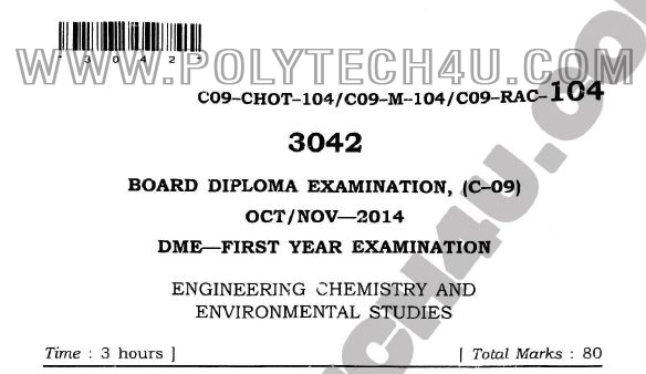 COMMON C-09 DME ENGINEEERING CHEMISTRY OLD QUESTION PAPERS