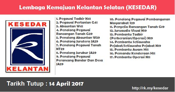 Jawatan Kosong di Lembaga Kemajuan Kelantan Selatan (KESEDAR)