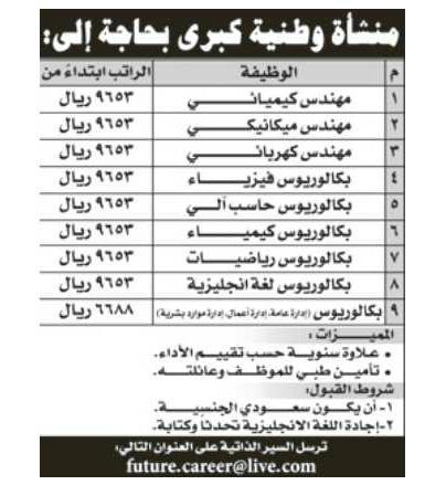 وظائف وفرص عمل شاغرة فى المملكة العربية السعودية 12 09 12
