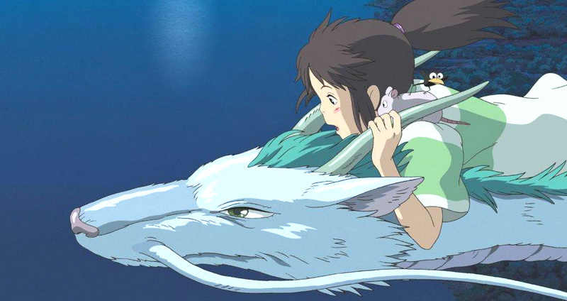 Chihiro flying through the air on the back of a horned beast in Spirited Away 2001 animatedfilmreviews.filminspector.com