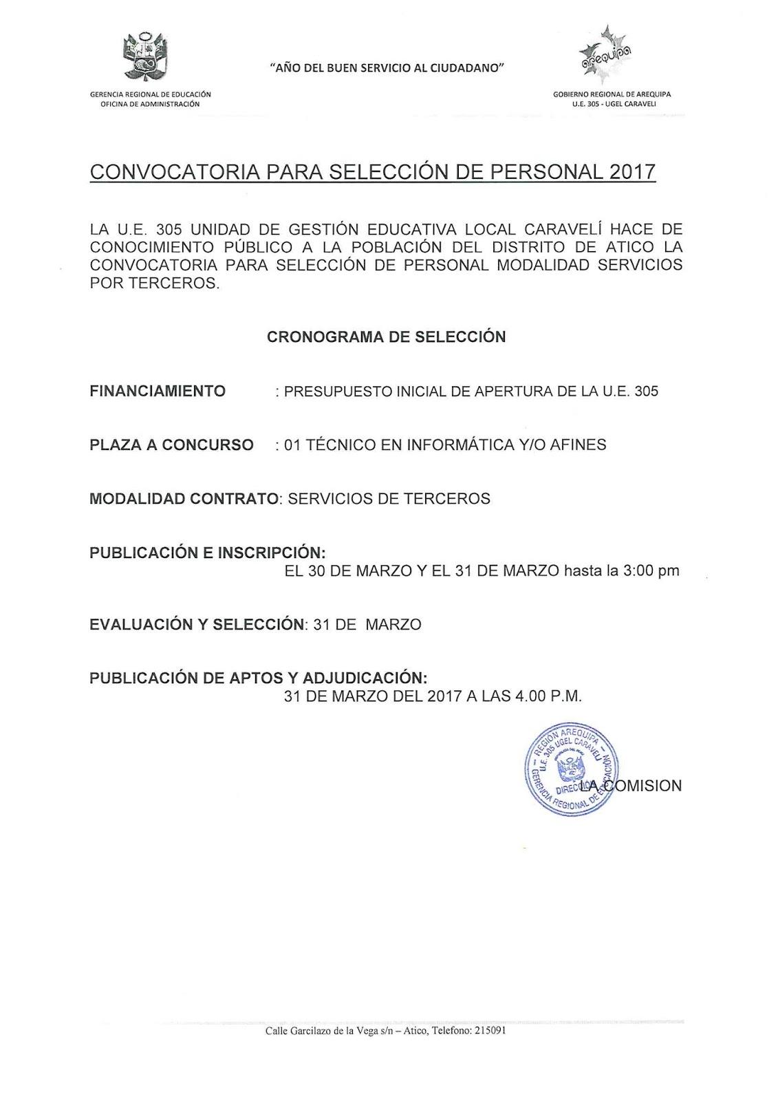 Convocatoria para seleccion de personal 2017 u e 305 for Convocatoria de plazas docentes 2017