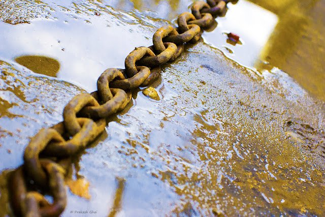 A Minimalist Photo of a rusted iron chain partially submerged in a water puddle