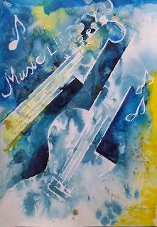 water media colour music guitar painting keiu kuresaar