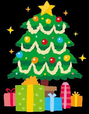 クリスマスツリーとプレゼントのイラスト