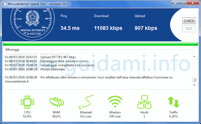 MisuraInternet Speed Test AGCOM