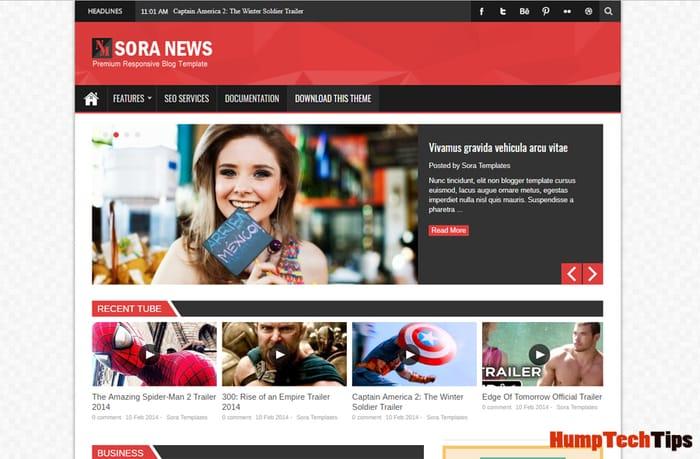 Sora News Responsive Magazine Blogger Template