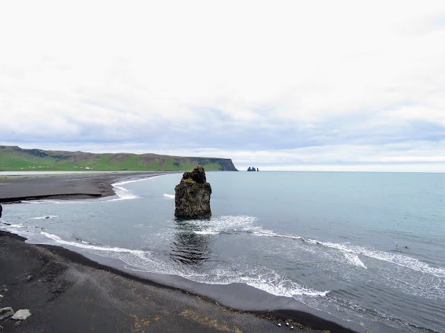 Large rock in the water near Dyrhólaey Peninsula along the South Coast of Iceland