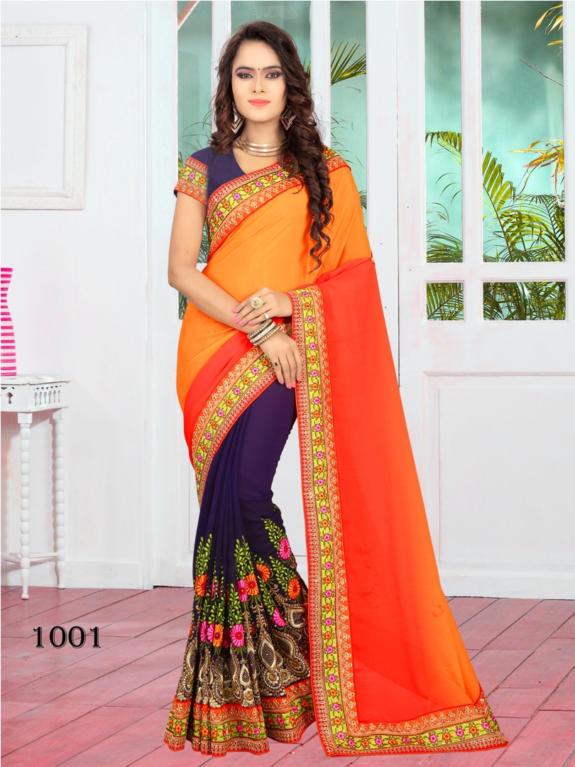FANTASTICS-4 – Faux Georgette Half Half saree with Heavy Cording work & elegant Border
